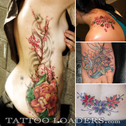 men flower tattoo. colorful flowers tattoo