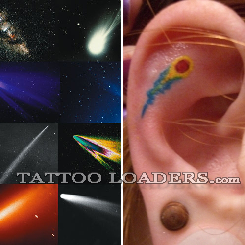 Check out this tiny little comet tattoo on the ear of this hot chick.