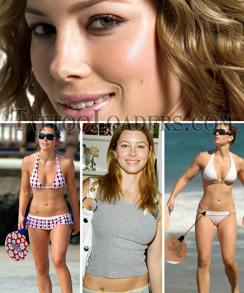 Jessica Biel Stomach Tattoo