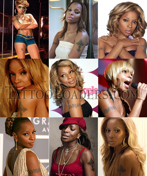 Tattoos on Mary J. Blige