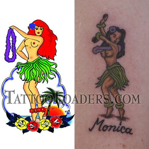 Hula Girl Temporary Tattoo. Many times women and teenage girls that visit
