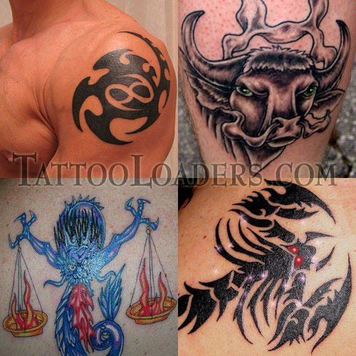 cancer sign tattoo pictures. Zodiac Symbol Tattoos