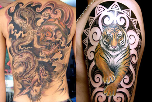 tribal dragon tiger. Dragon and Tiger Tattoo