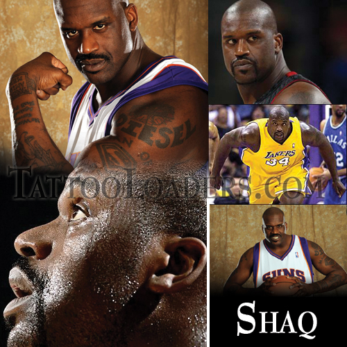 Shaquille Oneal has tattoos but the most famous one is the Superman logo of