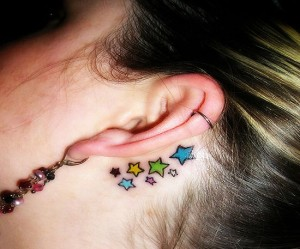 Back Ear Color Star Tattoo