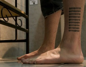 Binary Code Leg Tattoo