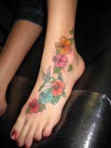 Flower Foot Tattoo & Hummingbird