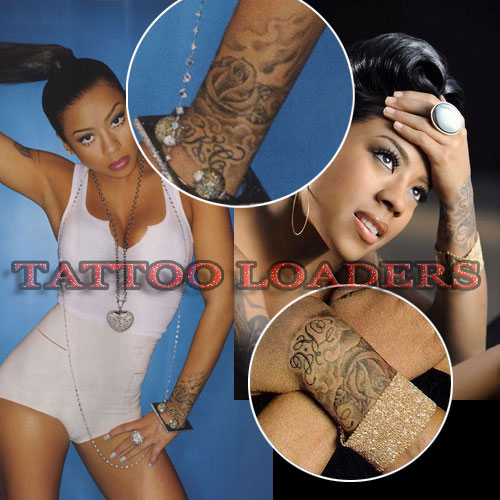 Keyshia Cole has a rose on her wrist that was designed by Mr. Cartoon who is