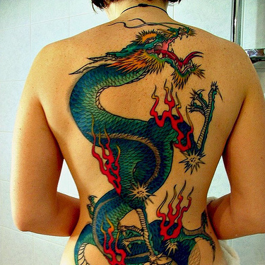Blue Green Dragon Back Tattoo